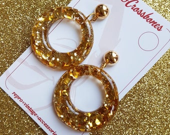 Amelia lucite confetti hoop earrings - Gold