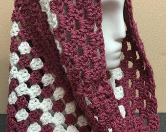 Mauve and White Hooded Cowl, Pink Cowl Scarf, Rose Cowl Scarf, Gifts for Her, Crochet Cowl Scarf, Circle Scarf, Cowl Scarf, Crocheted Scarf