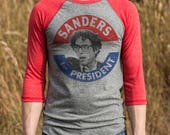 Bernie Sanders for President T-Shirts Organic Cotton & Recycled Poly Mens Women's All profits donated Tri-blend Made in the USA retro design