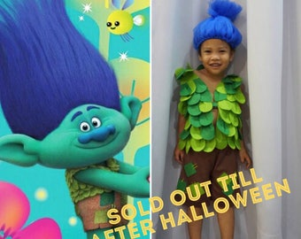 Branch Troll , Happy Branch Troll Inspired Costume with Tulle hat