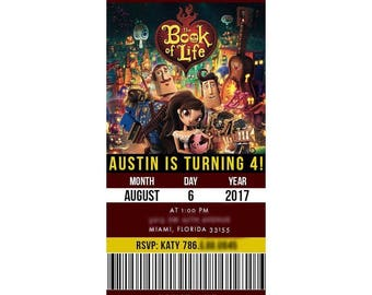 The Book of Life Party Invitation   Birthday Invitation