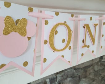 pink and gold first birthday banner * ONE banner * pink and gold minnie mouse banner * first birthday banner * high chair banner *