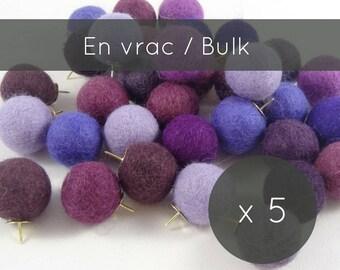 Push Pins 5/Purple Thumbtacks/purple Decor/felt Balls/pins/pompoms