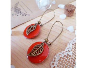 DEATILLE ▷ earrings sleepers type bronze leaf and a red enameled Medallion pendant!