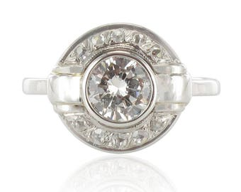 Ring art deco round diamond Art deco 18K white gold