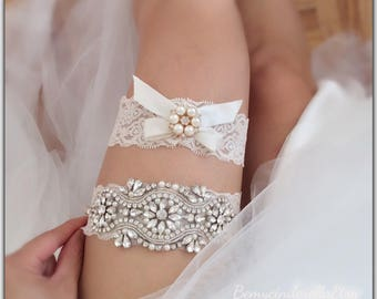 Off White Wedding Garter Set Rhinestone Bridal Ivory Lace