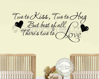 Nursery Wall Sticker For Twins Baby Boys Girls Bedroom Wall Decor Two To Love Wall Quote Decal