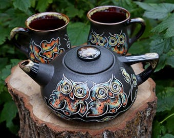 Couples set Owl tea set ceramic Whimsical teapot set Tea service New home gift Owl painting Mother day gift Stoneware pottery Tea set black