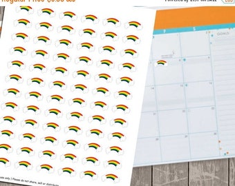 75% OFF SALE Rainbow Planner Stickers, Set of 72 Printable Planner Stickers, Instant Download - UZ808Ps