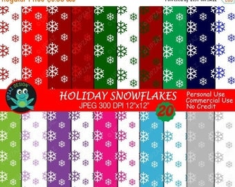 75% OFF SALE Snowflake Digital Papers, Commercial Use,  Scrapbook Papers, Background - UZ706