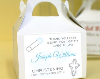 Personalised Christening / Baptism Cup Cake Boxes - Pink Cross