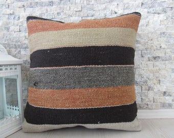 Decorative Floor Pillow Vintage Rug Kilim Pillow 18x18 Kilim Cushion Kilim Lumbar Turkish Ethnic Pillow Decorative Pillow Aztec Pillow