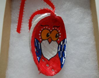 Handmade owl seashell ornament decoration painted abalone Christmas decor