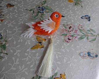 Handmade fabric bird sculpture, door hanger, home decor,bird ornament, fall decor, mother in law gift, wreath