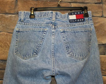 Vintage Tommy Hilfiger Jeans  Women's Size 9  Mid/High Waisted Denim  Button Fly  Big Logo Patch