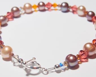 Handmade Occasion Bracelet Swarovski Crystals & Fresh-Water Pearls