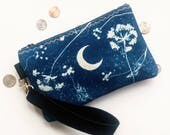 Moon Goddess Wristlet -- Cyanotype Print on Cotton Canvas with black VEGAN leather -- Indigo sun print with flowers