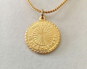 """Vintage religious pendant, The Lord is My Shepherd pendant, layering necklace, 3/4"""" gold plated pendant with an 18"""" snake chain"""