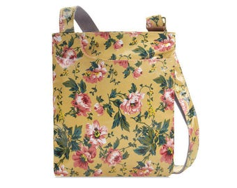 Oilcloth Crossbody bag - Peony Rose- Floral Ladies Purse - Ladies Handbag - Floral Satchel - Oilcloth bag - Oil cloth bag - Laminated cotton
