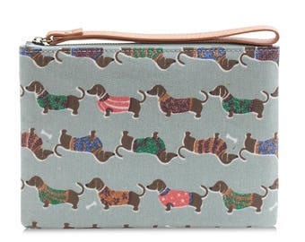 Oilcloth Clutch purse- Zip Pouch bag- Dachshund sausage dog- Oil cloth strap zip wallet- Ladies Teenage girl cosmetic beauty case makeup bag