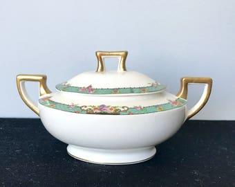 Vintage 1909 Homer Laughlin Creamer and Covered Sugar Bowl - Green Floral Trim