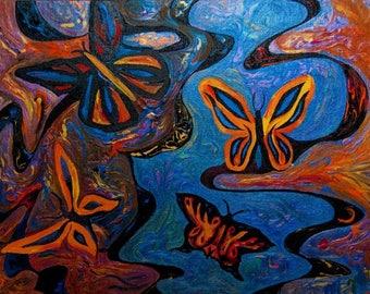 Original Modern Art, Contemporary Art, Butterflies, Butterfly