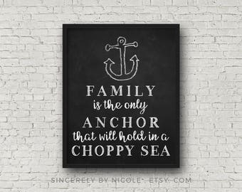 Family Sign, Anchor Decor, Anchor Wall Decor, Chalkboard, Instant Download, Nautical Nursery Art, Beach House, Beach Decor, Printable Anchor