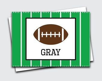 Personalized Kids Notecards / Football Note Cards for Boys / Sports Fold Over Notes / Birthday Gift Thank You Notes / Blank (#1702-013FO)
