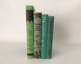 Set of 4 Vintage Books, in shades of green, color block book set