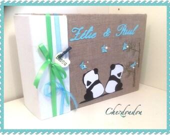 "Custom album or guestbook ""little pandas"" linen for birth or christening"