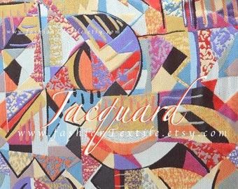 Colorful jacquard abstract fabric by yard - achat tissu jacquard  au metre