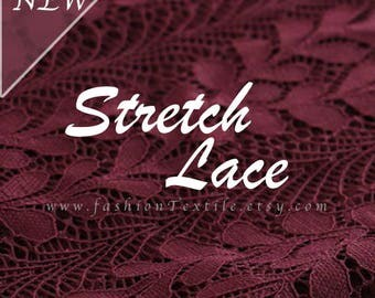 Dark Purple Lace Fabric stretch Lace by meter