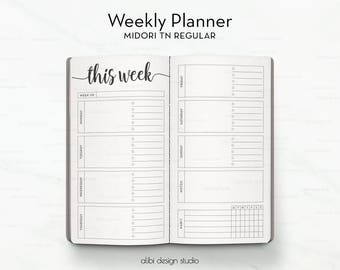 Standard TN, Weekly Planner, Week on 2 Pages, Travelers Notebook, Midori Insert, TN Insert, Habit Tracker, Midori, Bullet Journal
