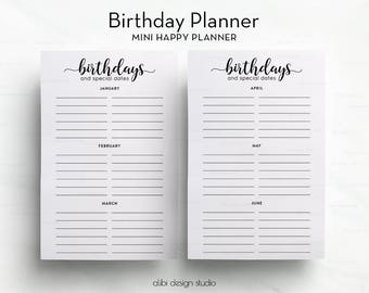 Birthday Planner, MINI Happy Planner, Printable Planner, Birthday Printable, Birthday Calendar, MINI Happy Planner Insert, Birthday Tracker