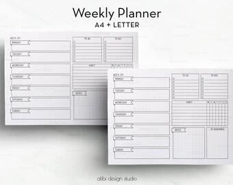 Weekly Planner, Weekly Schedule, Habit Tracker, A4 Printable, Weekly Printable, Daily Schedule, Daily Planner, Weekly Calendar, Meal Planner