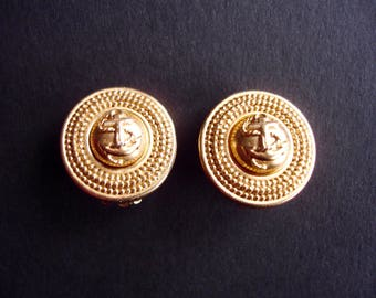 Vintage Carolee Small Round Gold Anchor Clip On Earrings Nautical, Signed