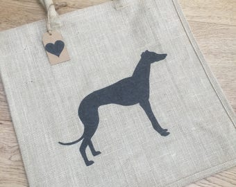 Luxury jute shopping bag featuring a Greyhound dog design, the perfect gift for Greyhound owners and dog lovers alike