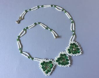 Vintage Native American Triple Hearts Double Strand Green and White Hand Sewn Beaded Necklace