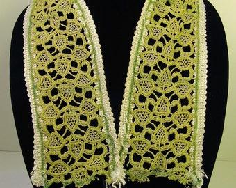 Pale Green and Beige Crochet Trim