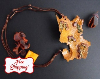 real flower pendant fall necklace real flower jewelry woodland necklace real flower necklace botanical pendant tree bark enchanted forest