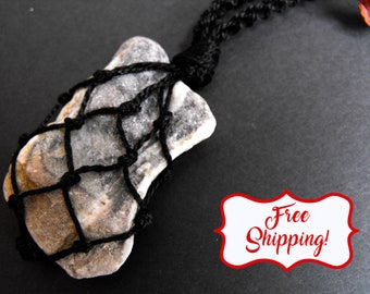 Beach stone necklace earthy necklace beach pebble natural beach stone pebble necklace beach rock jewelry beach rock necklace grey beach rock