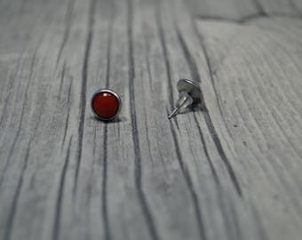 Stainless steel earrings red cabochon