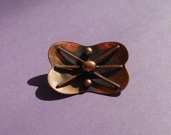 Vintage 1970s copper brooch
