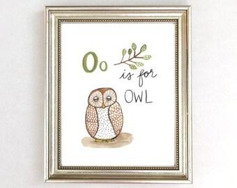 Owl Nursery Art, Owl Nursery Print, Watercolor Owl, Owl Print For Baby, O is for Owl, Owl Print, Owl Artwork Nursery, Owl Art for Kids