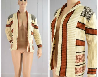 Vintage 1970s Petronelli Brown Orange and Cream Stripe Open Front Bulky Cardigan Sweater | Size: Mens S / Womens M