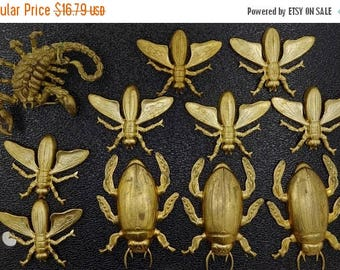 ON SALE 10 Vintage Stamped Brass Parts, Insects, Beetles, Scorpion, Steampunk Supplies, Free Shipping