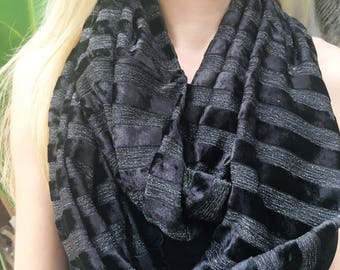 SALE Black Velour Metallic Infinity Wrap Scarf