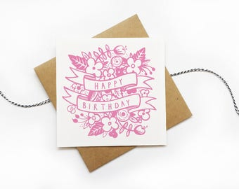 Pink Floral Happy Birthday Card | Printable Card | Instant Download Birthday card