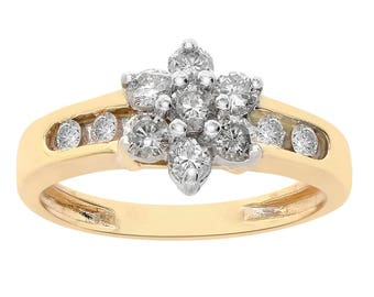 0.40 Carat Round Cut Diamonds Flower Design Ring 10K Yellow Gold
