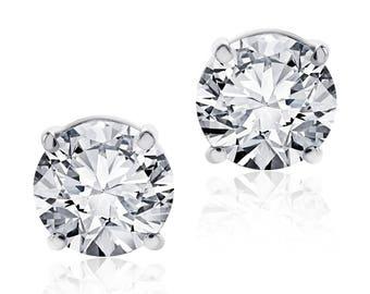 1.42 Carat Round Diamond Stud Earrings F-G/VS2-SI1 14K White Gold